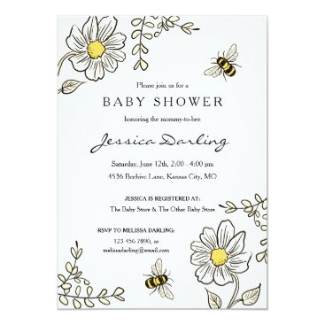 Bee Baby Shower Invitations for Bumble Bee Shower