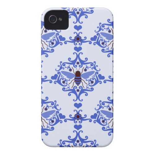 Bee bumblebee blue damask vintage insect pattern Case-Mate iPhone 4 case