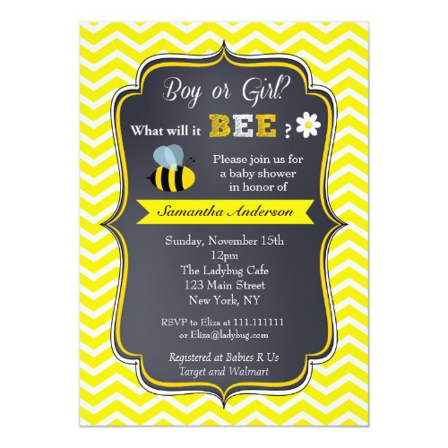 Bee Gender Reveal Baby Shower Invitations