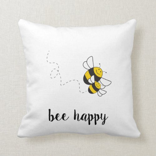Bee happy throw pillow to put a smile on your face