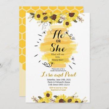 Bee Sunflower He or She Gender Reveal Invitation