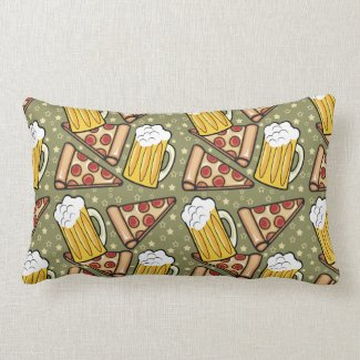 Beer and Pizza Graphic Pattern Pillow
