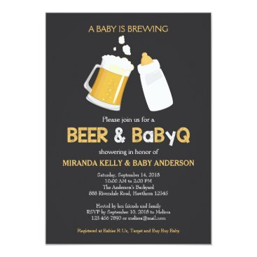 Beer & BabyQ Baby Shower Invitation, Bbq Invite