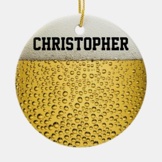 Beer Glass Personalize Ceramic Ornament