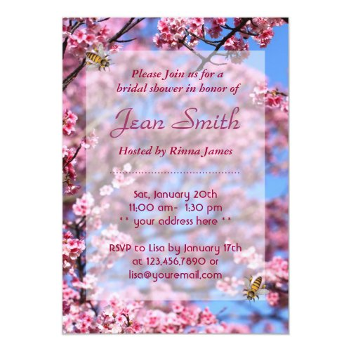 Bees & Cherry Blossom Bridal Shower Invitation