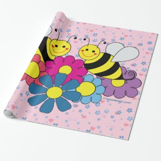 Bees & Flowers Design Illustration Sheets Wrapping Paper