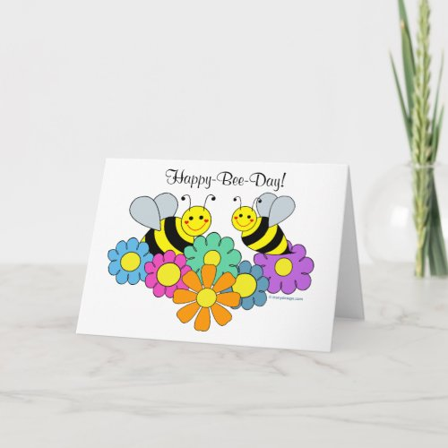Bees & Flowers Happy Bee Day Card