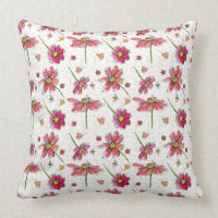 Bees Ladybug Watercolor Wildflowers Throw Pillow