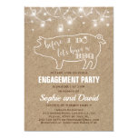 Pretty Burlap With String Lights Pig Themed I Do BBQ Invitation