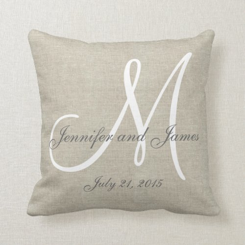 Beige Linen Gray White Monogram Wedding Keepsake Pillow