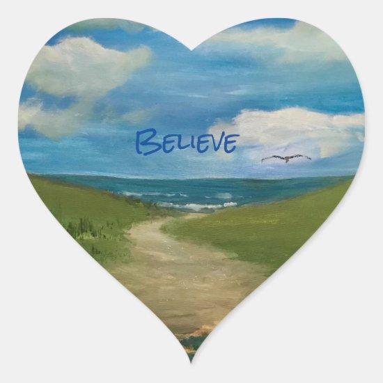 Believe:  Scenic Seaside Painting Heart Sticker