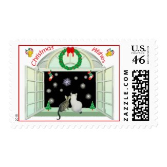 Bengal & Bobtail Kittens Christmas Wishes stamp