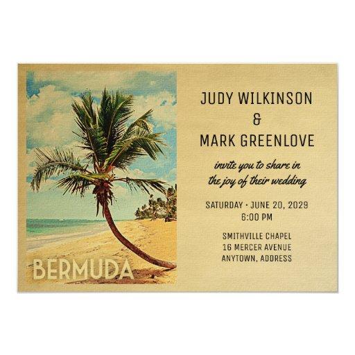 Bermuda Wedding Invitation Beach Palm Tree