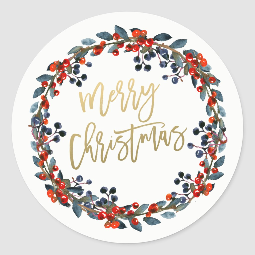 Berries Wreath Merry Christmas Gold Script Holiday Classic Round Sticker