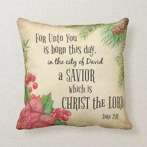 Bible Verse Christmas Throw Pillow