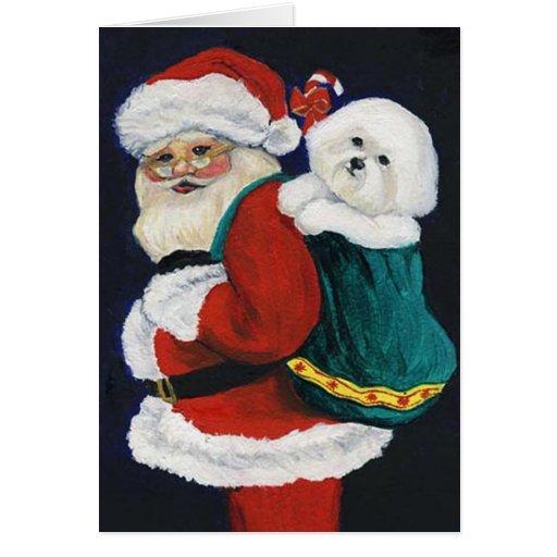 Bichon Frise And Santa Dog Art Christmas Card Zazzle