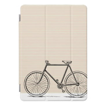 Bicycle Line Art Drawing on a Neutral Striped iPad Pro Cover