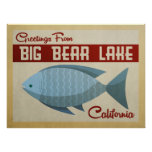 Big Bear Lake Blue Fish Vintage Travel Poster