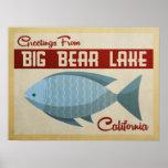 Big Bear Lake Blue Fish Vintage Travel Poster