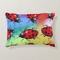 Big Bright Ladybugs on Multi-Color Background, Art Decorative Pillow