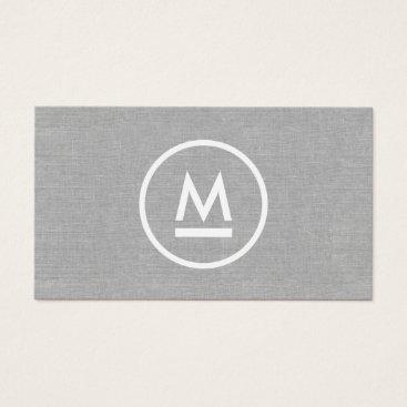 Big Initial Modern Monogram on Gray Linen Business Card