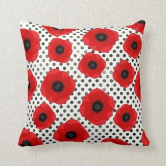 Big Red Poppy Flowers on Black and White Polka Dot Throw Pillow