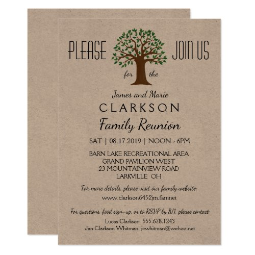Big Tree Family Reunion Info Packed Invitation
