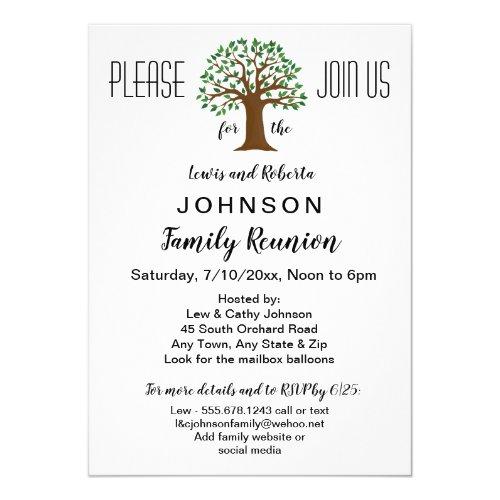 Big Tree Logo Family Reunion or Event Invitation