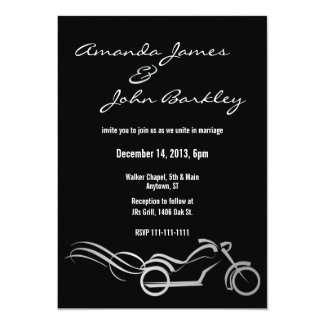 Biker Wedding Black with Swirls 5x7 Paper Invitation Card