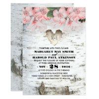 Birch Tree Bark Heart Rustic Country Wedding Card