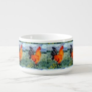 Bird Art Rooster Chickens Bowl