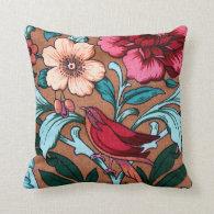 Bird Fabric Throw Pillow