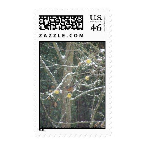 bird in a winter tree stamp