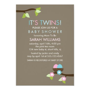 Bird Nest and Blossoms Twins Baby Shower Invitation