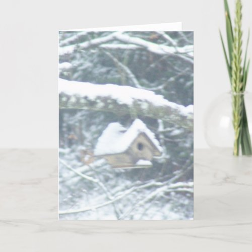 birdhouse in the snow card