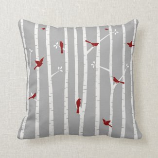Birds in Birch Trees Red White Grey