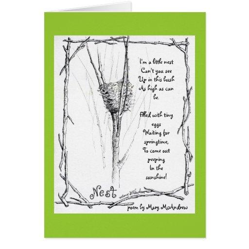 Birds Nest In Winter Sketch In Ink With Poem Card Zazzle