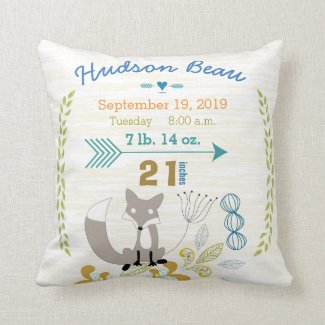 Birth Stats Baby Boy Woodland Creatures Fox Throw Pillows