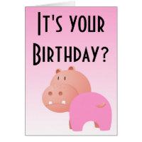 Birthday Again Hippo Card