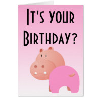 Birthday Again Hippo Card