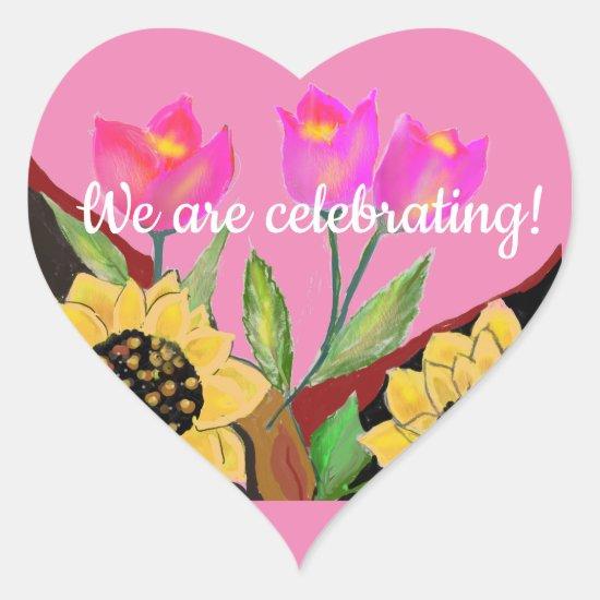 Birthday Bright Pink Background Sunflower & Tulip Heart Sticker