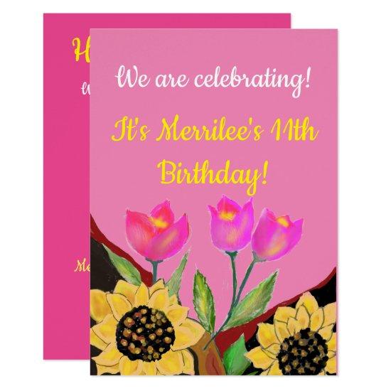 Birthday Bright Pink Background Sunflower & Tulip Invitation