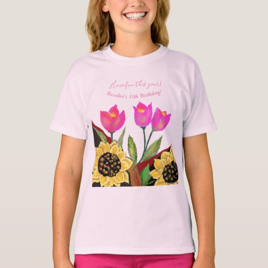 Birthday Bright Pink Background Sunflower & Tulip T-Shirt