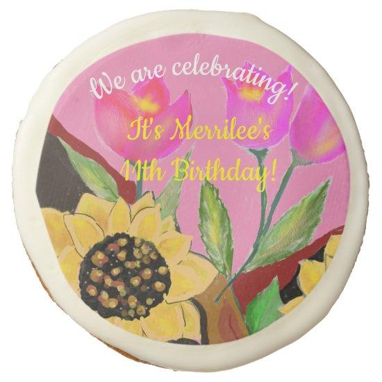 Birthday Bright Pink Paper Plate Sunflower & Tulip Sugar Cookie