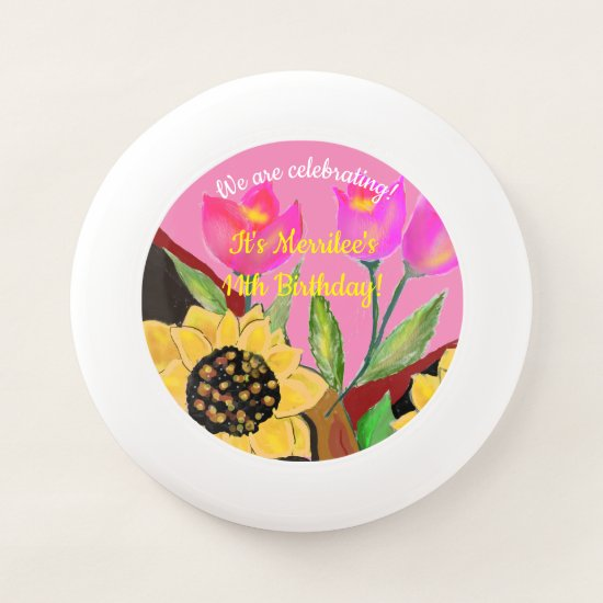 Birthday Bright Pink Paper Plate Sunflower & Tulip Wham-O Frisbee