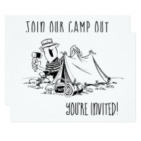 Birthday Camp Out Camping Party Black and White Card