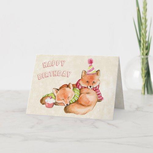 BIRTHDAY CARD - FOX CARD - CUTE ANIMALS SNUGGLING