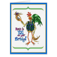Birthday Card Rooster Illustration Wine Glass