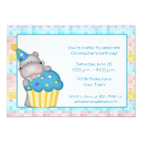 Birthday Hippo and Cupcake Card