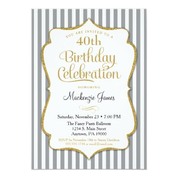 Birthday Invitation Gray Gold Adult Stripes